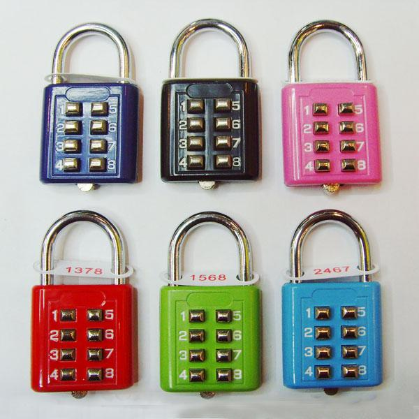 8 Slide Button Luggage PadLock fo blind person