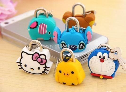 Fashion Cute Cartoon Lock Animal Padlock Silicone Mini Lock for Diary