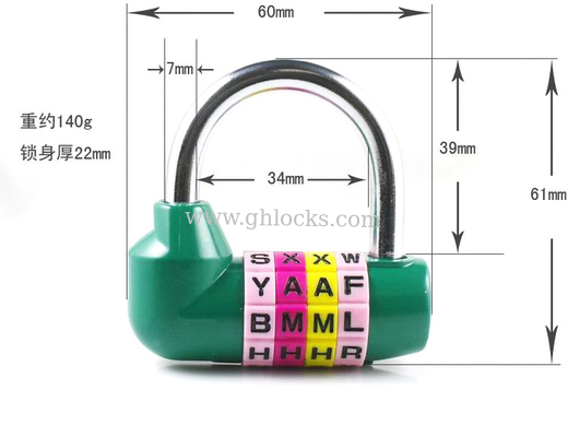 China 4 Digital English Letter Combination Lock U type anti-theft Code Lock English letter lock factory